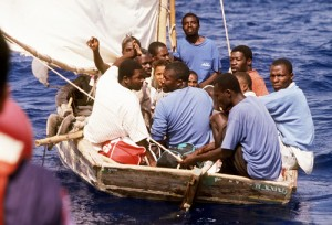 Haitian refugees on a boat to Guantanamo