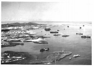 Aerial view bay & ships-b&w
