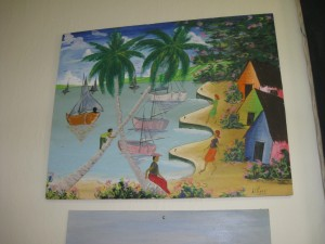 A painting completed by an unknown Haitian refugee during detainment at Guantánamo in 1991. Image courtesy of Holly Ackerman.