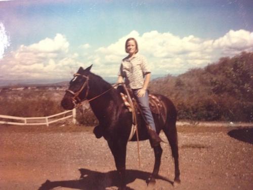 Daline Riley, military dependent at the US naval station at Guantanamo Bay, Cuba, horseback riding