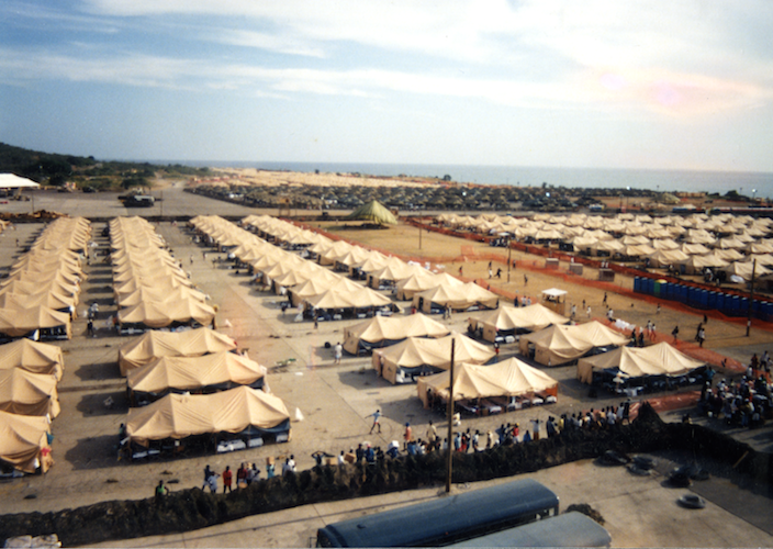 Refugees at Guantánamo lived in sun-baked tent cities as U.S. officials decided their fates. Courtesy Merrill Smith.