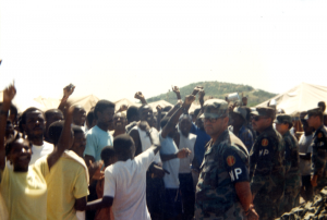 Haitian refugees protest at Guantánamo. Courtesy Merrill Smith.